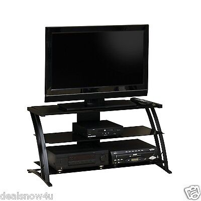 - Decorative Panel TV Stand Television Entertainment Center Steel Frame Glass Shel