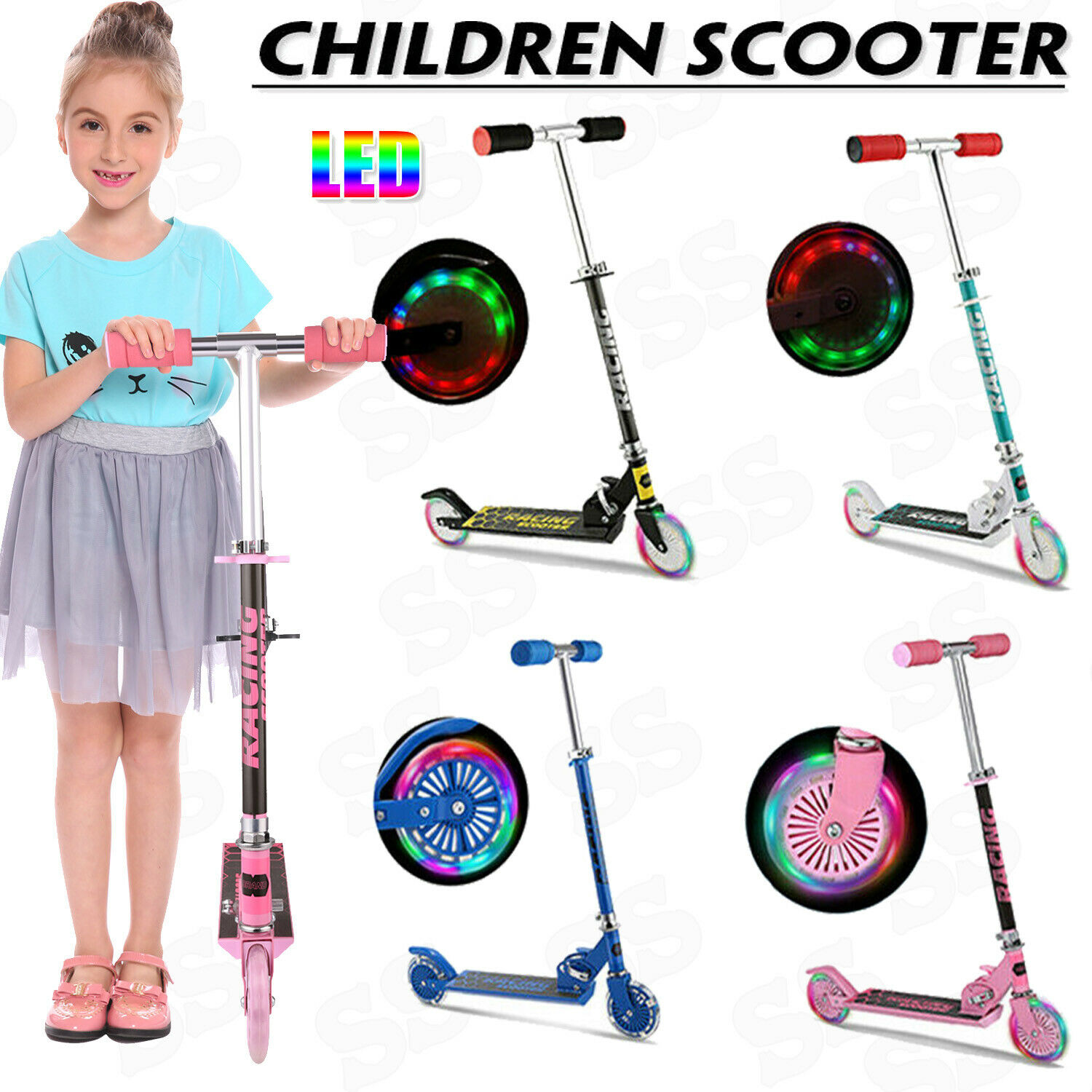 Kids Scooter Deluxe for Age 3~12 Adjustable Kick Scooters Gi