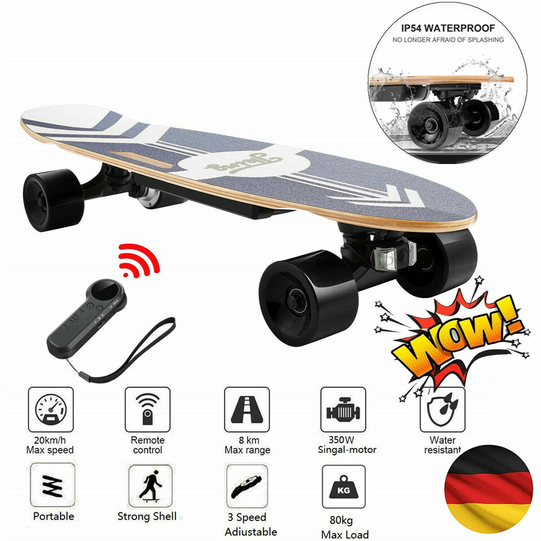 E-Skateboard Elektro Skateboard 350W Motor Longboard mit Fernbedienung 20km/h A+