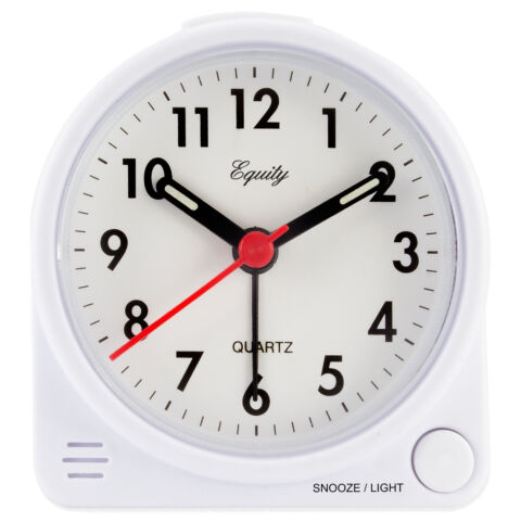 27002 advance time technology battery powered analog quartz alarm clock white ebay. Black Bedroom Furniture Sets. Home Design Ideas