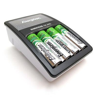 Batterie Ladegerät AA AAA Akku Laden Display Ladeschutz + 4 Energizer Batterien