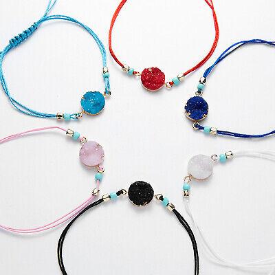 Handmade Pink Rose Quartz Real Gemstone Crystal Bead Rope Bracelet Bangle Adjust