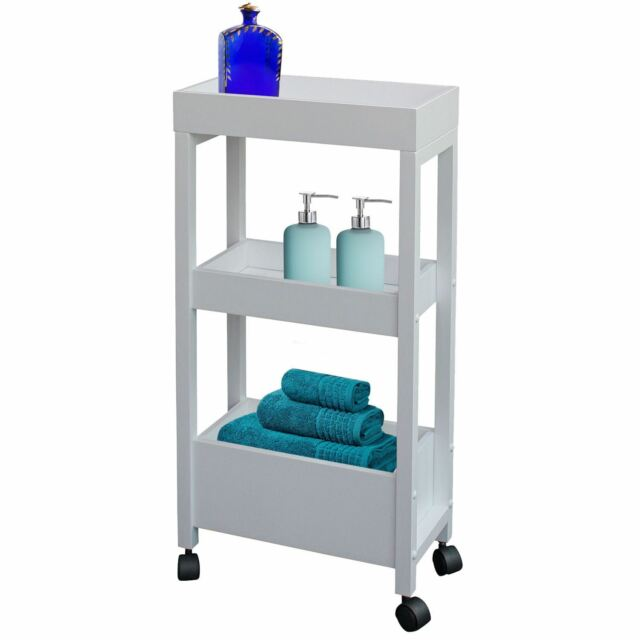 Bathroom Organiser white 3 tier wooden storage trolley kitchen bathroom organiser