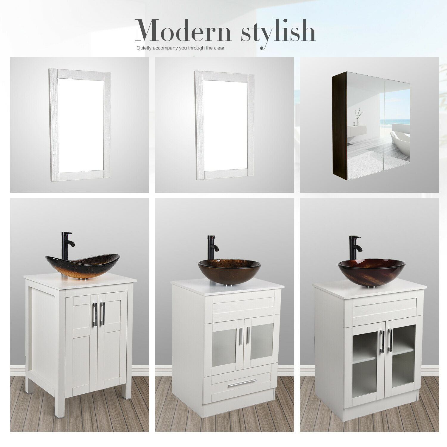 24'' White Bathroom Vanity Organizer Cabinet Wood Vessel Sin