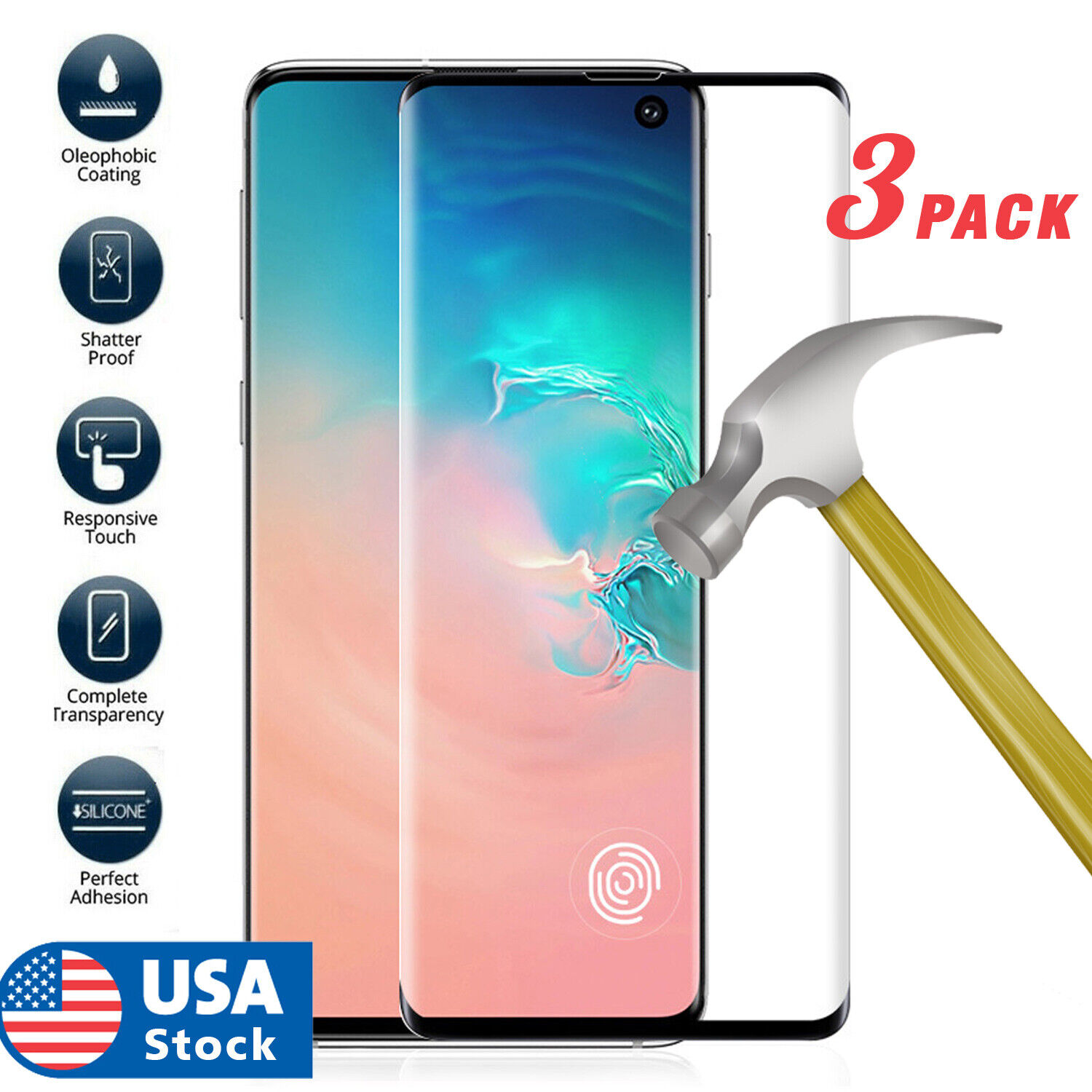 3pcsFor Samsung Galaxy S10 Plus S10e  Cover Tempered Glass Screen Protector Film Cell Phone Accessories