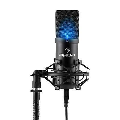 Kondensator Mikrofon Gesangs Studio Mic Microphone USB LED Halter Musik Schwarz