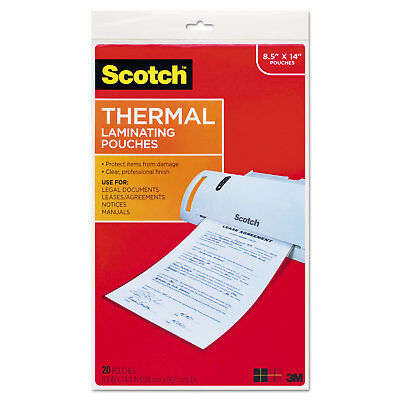 Scotch Menu Size Thermal Laminating Pouches 3 Mil 8 12 X 14 20pack Tp385520