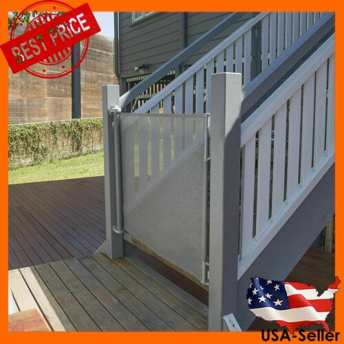 """Perma Child Safety Outdoor Retractable Baby Gate, Extra Wide up to 71"""", Gray"""