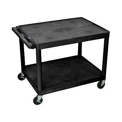 Offex 27h Av Tool Storage Plastic Utility Cart With 2 Shelves Electric Black