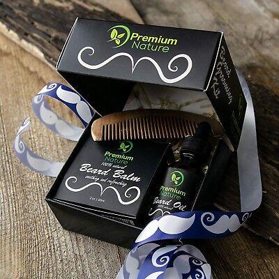 Men Beard Grooming Kit Mustache Care Gift Set Beard Oil Softener & Conditioner