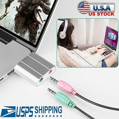 USB Sound Card External Audio Adapter 3.5mm Stereo for Headset Mic PS4 Laptop - Mono Audio Card