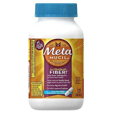 Fiber Supplement Plus Calcium - Metamucil Daily Fiber Supplement Plus Calcium, Psyllium Husk Capsules, 120