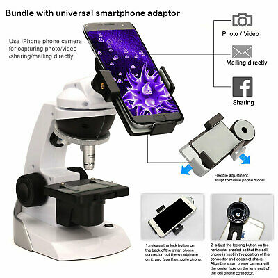 Swift Kids Microscope Kit 60x-200x Beginner Compound 360 Hd Smartphone Adapter