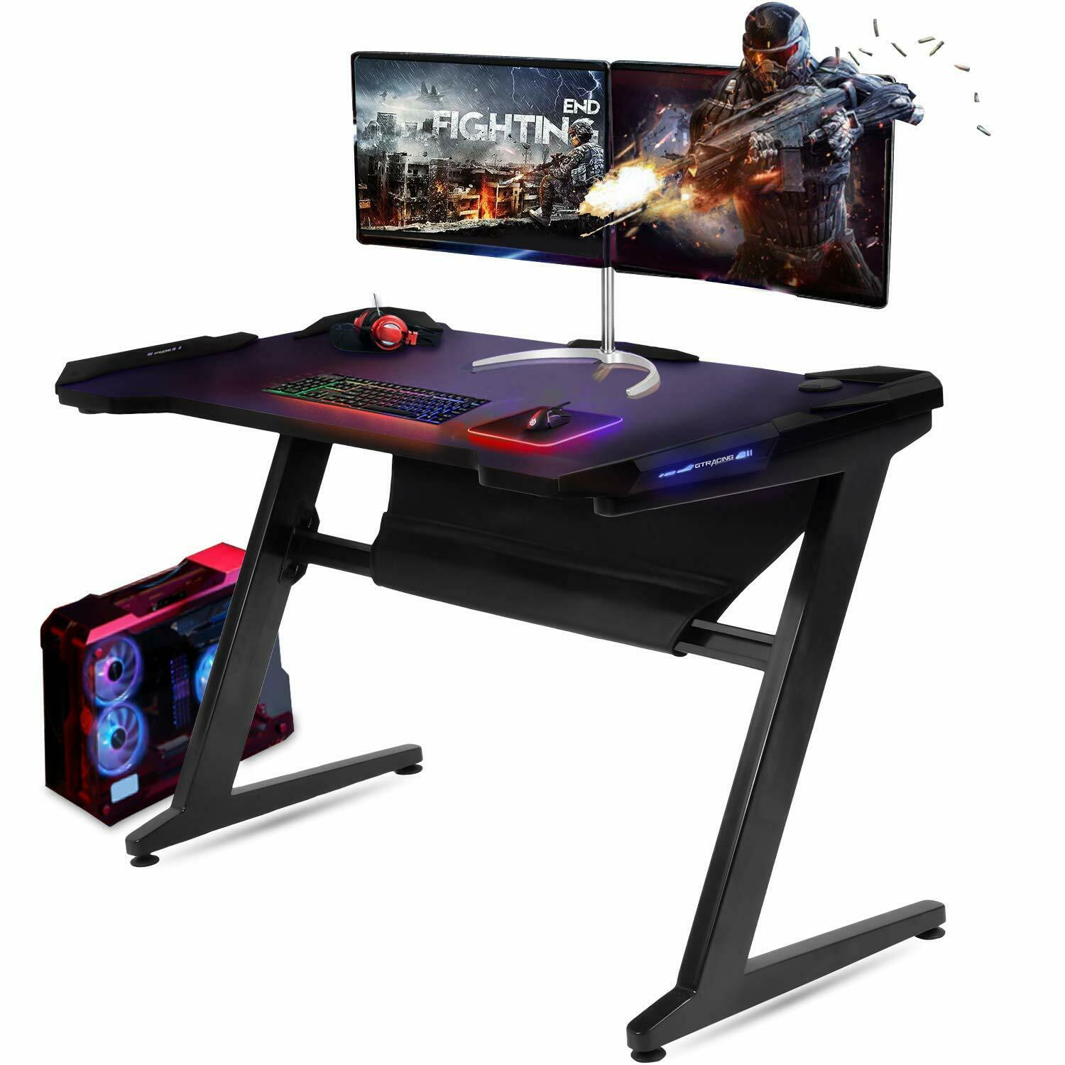 Gaming Desk Computer Table Z-Shaped with LED Light GTRACING