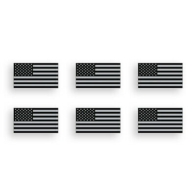 - 6 Mini USA Flag Stickers American Tattered Black Gray Helmet Hardhat Tag Decal