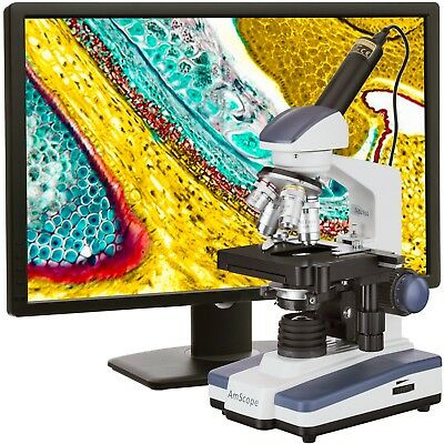 Amscope 40x-2500x Led Digital Monocular Compound Microscope W 3d Stage 1.3mp Ca