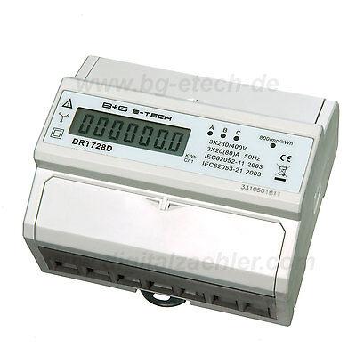 LCD digitaler Drehstromzähler Stromzähler mit S0 für DIN Hutschiene 3x20(80)A