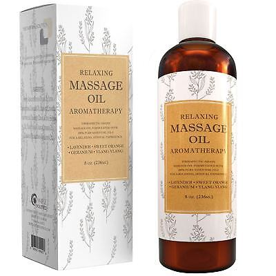 Relaxing Massage Oil Aromatherapy - 8 Oz | Sensual + Therapeutic | 100% NATURAL