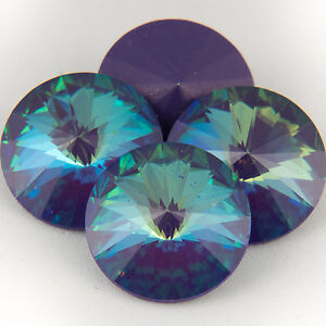 Four Swarovski Crystal 12mm 1122 Rivoli Ultra Purple AB SA12-001ZAB