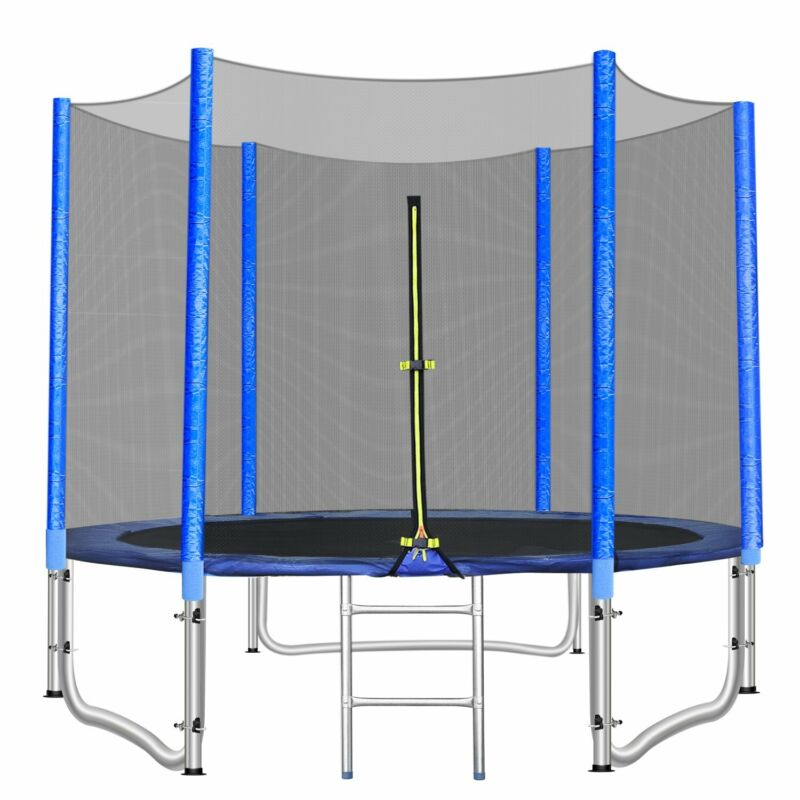 8ft Round Trampoline with Safety Net Enclosure Kids Bounce Jumping Spring Pad