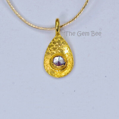 5mmx10.2mm 18k Solid Yellow Gold Rose Cut Champagne Diamond Drop Charm Pendant