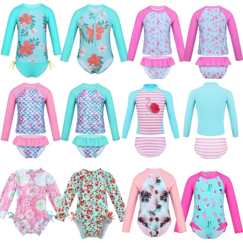 Baby Little Boys Two Piece Swimsuits Long Sleeve and Long Pants Diving Surfing Outfit Sun Protection UPF50 Beachwear