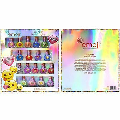 Emoji Kids Washable Sparkly Peel-Off Nail Polish Deluxe Set for Girls, 18 Pieces - Emoji For Girls