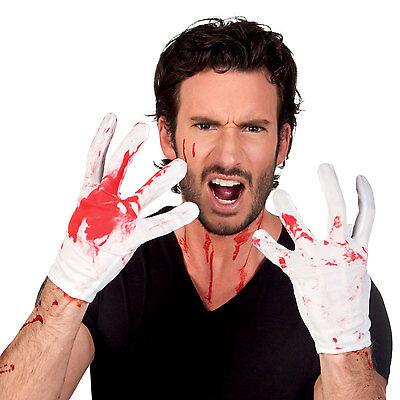 Halloween-kostüme, Weißen Handschuhen (Herren Erwachsene weiß blutig Handschuhe Halloween Kostüm Blutflecken NEU)