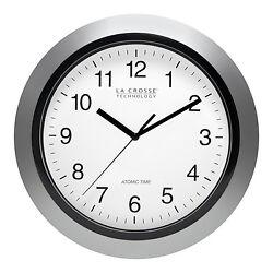 WT-3102S La Crosse Technology 10 Atomic Analog Wall Clock Silver - Refurbished