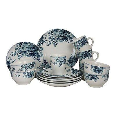 Round Stoneware Color Pattern Dinnerware Dish Set 16 Piece White with Blue -