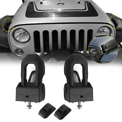 Black Hood Lock Catch Bracket Latches Buckle Kit For 07-18 Jeep Wrangler JK JL