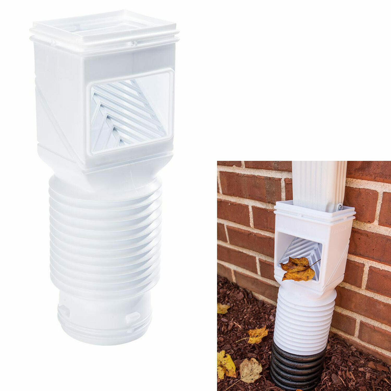 Downspout Debris Filter Strainer Gutter Leaf Guard Residential Connector, White Building & Hardware