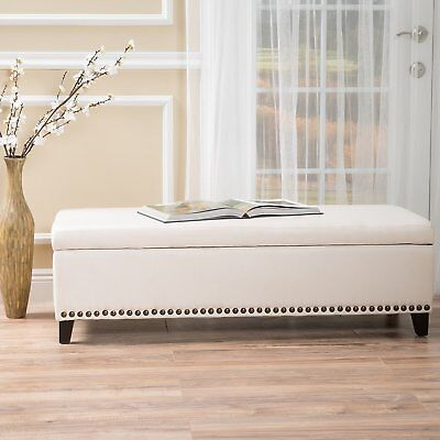 Bed Bench End Storage Cushion Foot King Size Upholstered Bedroom Hallway Foyer  ()