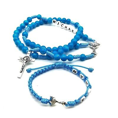 Personalized Rosary Bracelet With Name For Boy First Communion Confirmation Gift