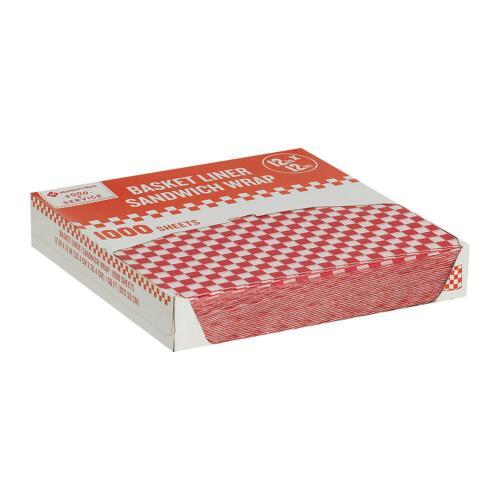 """Restaurant Deli Paper Food / Basket Liner Wrap, 12""""x12"""" Red Checkered, 1000ct"""
