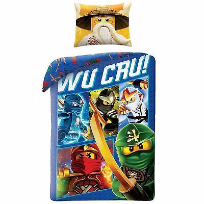 LEGO NINJAGO WU CRU SINGLE DUVET COVER SET 100% COTTON REVERSIBLE KIDS