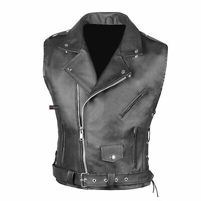 Men's Classic Leather Motorcycle Biker Concealed Carry Side Laces Vest Black Classic Side Lace Motorcycle Jacket