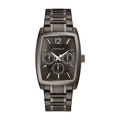Caravelle Men's 45C114 Quartz Chronograph Gun Metal Dial Bracelet 34mm Watch Dial Metal Quartz Watch