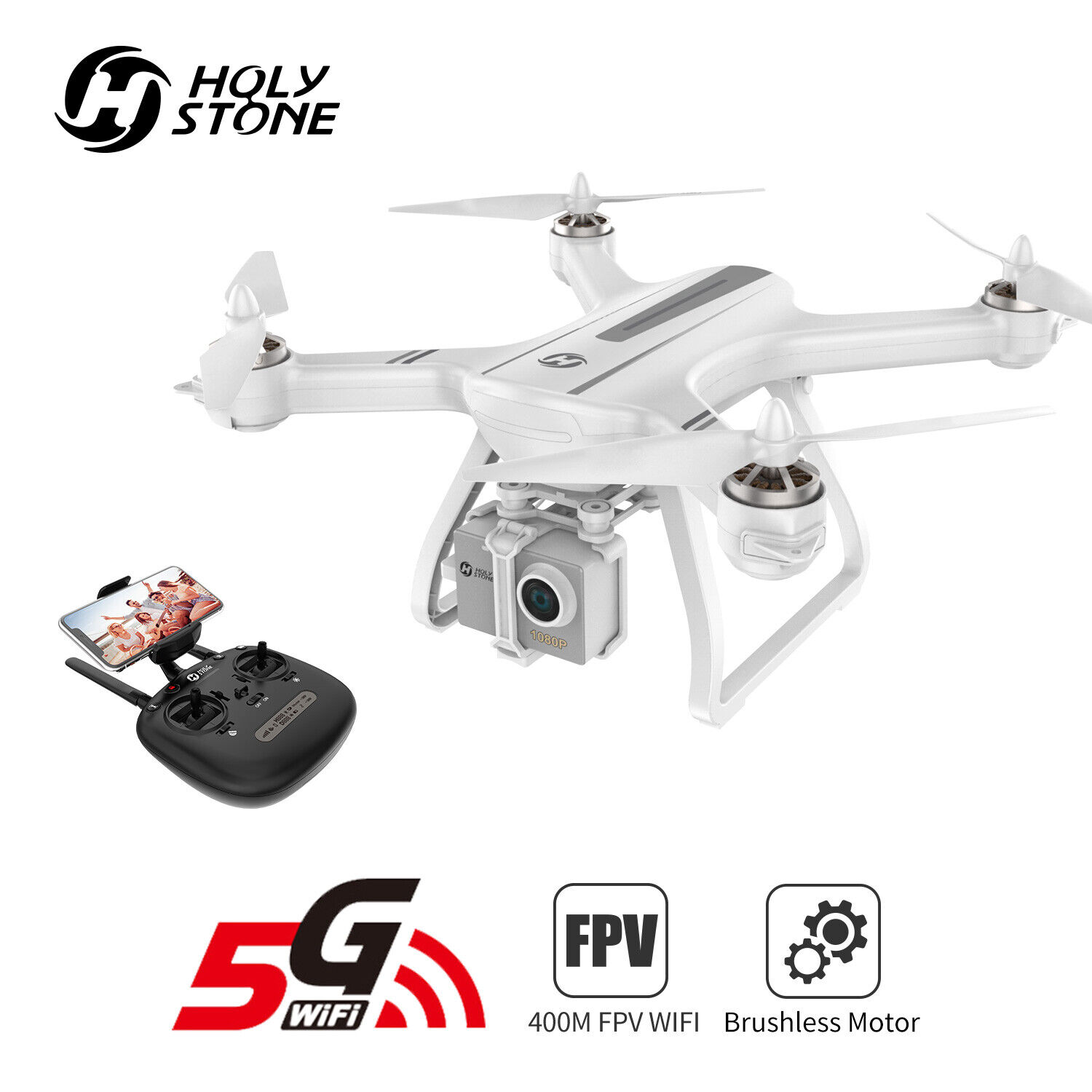 Holy Stone HS700 GPS FPV Drone 1080P HD Camera 5G wifi brush