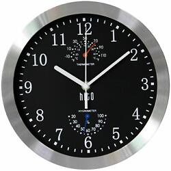 Silent Wall Clock Accurate Temperature Humidity Reader Contemporary Decor NEW