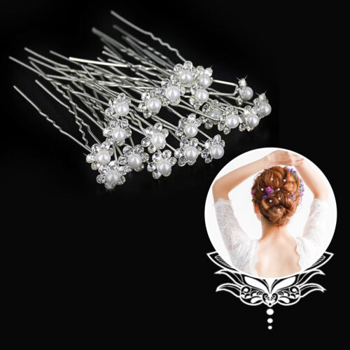 10pcs Silver Crystal Rhinestone Hair Pins White Pearl Flower Wedding Bridal Prom