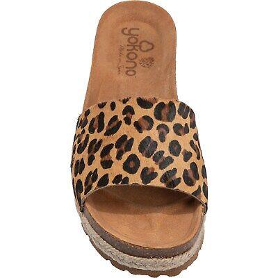 Yokono Tava Exotic Leopard Sling Back Mule Slide Leather Sandal Women's Size -