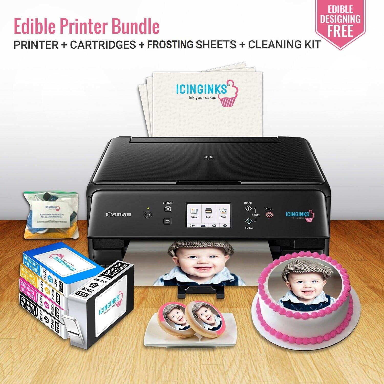 Edible Canon Printer Bundle, Ink Cartridges, 12 Frosting She