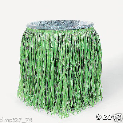 1 LUAU Tiki Beach Pool Party Decor Plastic TRASH CAN Hula GRASS SKIRT Cover](Hula Party Supplies)
