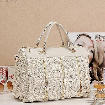 Lace Handbag Vintage Women PU Leather Satchel Messenger Bag Tote Shoulder Bag