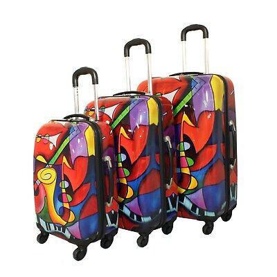 Art Inspired Music Instruments 3-piece Lightweight Hardside Red, Purple, Blue, M - $174.14