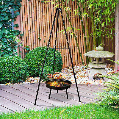 Outsunny Adjustable Tripod Charcoal Barbecue BBQ Cooking Grill Round Portable