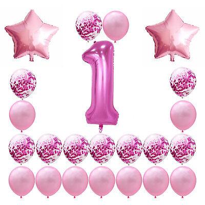 Erster Geburtstag Blau Konfetti Gefüllt Luftballons Pink 1 Jahr Alter Stern ()