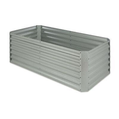 Garden Raised Bed plant Pot Planter Trough Flower 180x60x90cm 970l Silver Steel