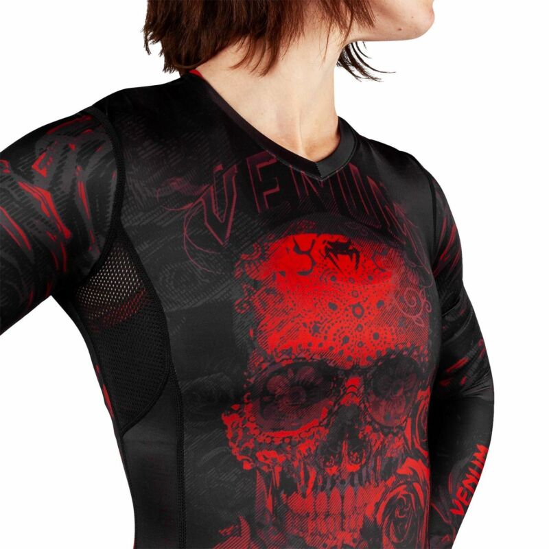 Santa Muerte 3.0 Rashguard - Long Sleeves - For Women - Black/Red Venum